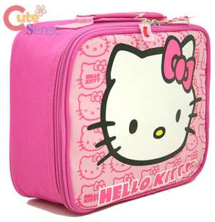 Hello Kitty LUNCH Bag School Snack Carry Box Pink Face