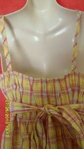 YELLOW plaid ROCKABILLY top CAMI shirt SMOCKED babydoll 1X XL empire
