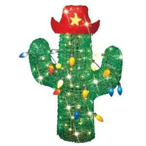 36 Inch Acrylic Cactus Christmas Tree With Cowboy Hat