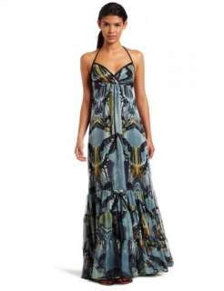 Jessica Simpson Tiered Chiffon Butterfly Print Halter Maxi Patio Dress