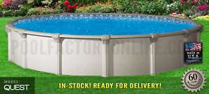 Round Premium Above Ground Swimming Pool Package  9 Wide RESIN Ledge