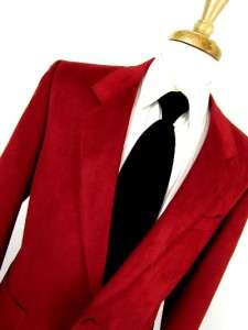 vintage mens bright red LEBARON ULTRA SUEDE jacket blazer sport coat