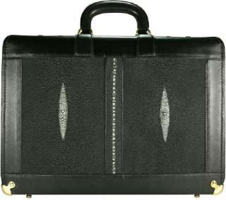MENS GENUINE BLACK STINGRAY LEATHER ATTACHE CASE