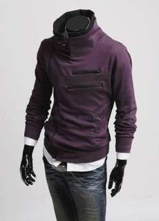 funnel collar zipup hooded sweat jacket hoodie kha asymmetric zip up