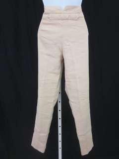 DONNA KARAN Natural Khaki Silk Linen Slim Pants Sz 6