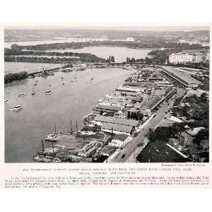 1931 Halftone Print Washington DC Cityscape Potomac River