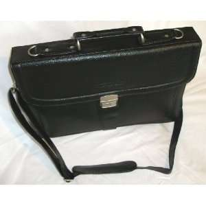 Quality Black Leather Effect PU Messenger Bag / Attache Case