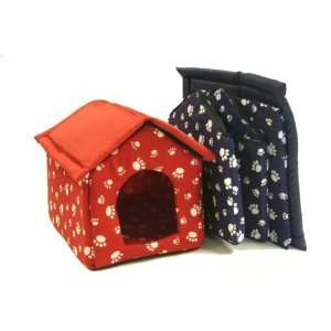 Pet Dog Cat Bed House w/ Paw Print Large   Red Kitchen