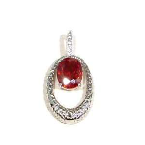 Lab Created Diamond and Garnet Sterling Silver Pendant Necklace with