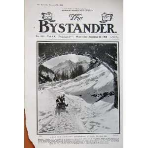 1908 Snow Sport Bob Sleighing Coire Switzerland Winter