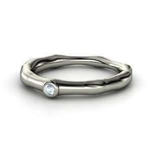 Bamboo One Stone Ring, 14K White Gold Ring with Aquamarine Jewelry