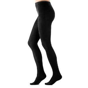 Womens Black Merino Wool Ribbed Tights PLUS Size