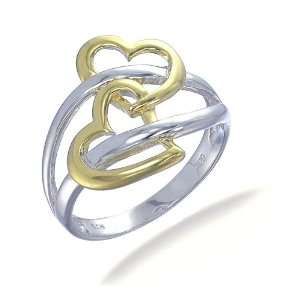 18K Yellow Gold Plated Contemporary Heart Shape Ring In