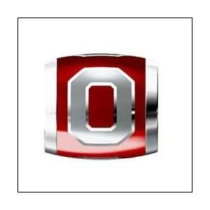 OHIO STATE O on Red Sterling Silver European Style Charm