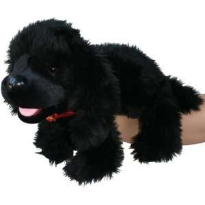 Playful Puppies   Large Black Dog Hand Puppet Toys & Games