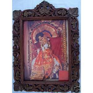 Lord Krishna with his Cow, Poster Painting in Frame