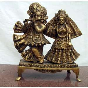 Brass Statue Of Lord Krishna With Radha: Home & Kitchen