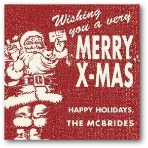 Personalized Holiday Gift Tag Stickers   Vintage Santa By Shd2