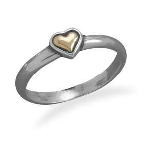 14 Karat Gold and Sterling Silver Heart Ring Jewelry
