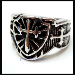 Vintage Sword & Shield Cross Face Mens Stainless Steel Ring Size 8  13