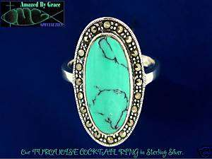 Large Sterling Silver Turquoise Cocktail Ring size 10
