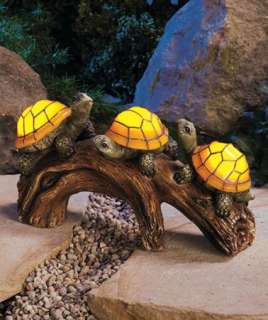 Solar Powered Turtles on a Log Light Outdoor Lighting Decor