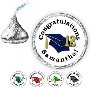 108 GRADUATION Cap 2012 Personalized Candy Kiss kisses Labels Favors