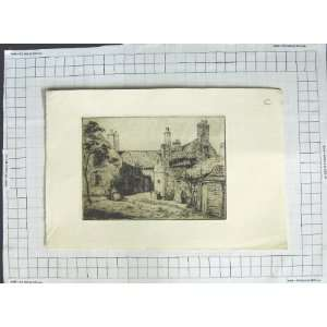 Antique Print Farm House Scene Ladies Trees Home