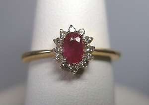 ESTATE SALE 14K Y/G GENUINE RUBY & DIAMOND LADIES RING