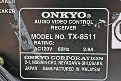 Onkyo Stereo AM FM Receiver Tuner Amplifier Amp TX 8511