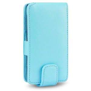 NOKIA N9 PU LEATHER FLIP CASE   BABY BLUE, WITH QUBITS