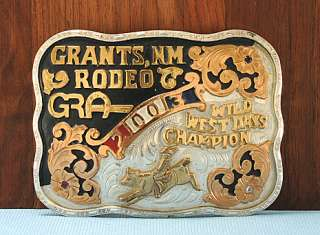 Grants, New Mexico Wild West Days Bull Rider Rodeo Trophy Buckle, No