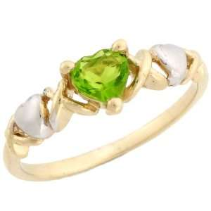 Gold Heart Shape Synthetic Peridot August Birthstone Ring Jewelry