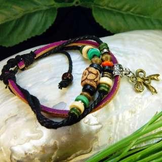 Bowknot Tibetan Silver Wood Beads Cord Leather Bracelet
