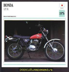 1976 HONDA 125 XL Motorcycle ATLAS PICTURE SPEC CARD