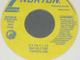 Lot of 8 Norton Grinding Wheels 8x1/4x1 1/4  38A120 l70VBE N.I.B