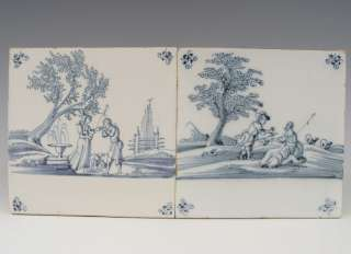 Two Superb Dutch Delft Tile Romantic Scene Ca. 1700