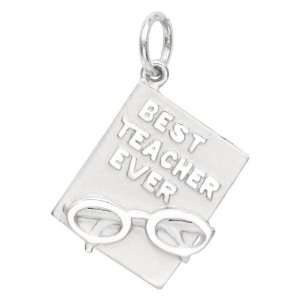 Sterling Silver Best Teacher Ever Charm Arts, Crafts & Sewing