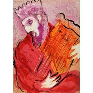 1956 Lithograph King David Harp Instrument Marc Chagall