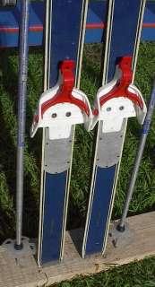 VINTAGE Wooden Skis 35 Wood BLUE Skiis POLES Ski GREAT