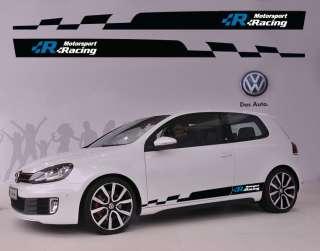 VW Volkswagen R Logo Racing Car Side Decal Sticker Full Color Stripes