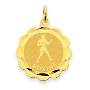 14k Yellow Gold Boxing Disc Pendant Jewelry