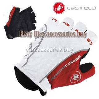 Castelli Rosso Corsa Bike Cycling Bicycle Fingerless Gloves Red/White