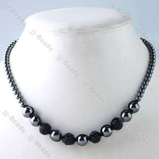 Hematite Pave Crystal Disco Hip Hop Ball Necklace 1pc Jewelry Gift