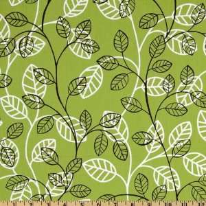 44 Wide Zen Garden Small Leafs Vine Green Fabric By The