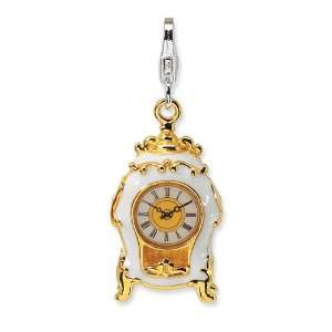 Amore La Vita Sterling Silver Gold Plated Clock Charm with