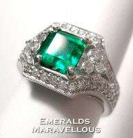 Vintage Style Ring Natural Emerald Diamond Ring 18K