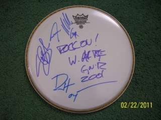 Guns & Roses AXL ROSE SLASH DUFF STEVEN Signed Autographed Drumhead