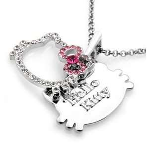 HELLO KITTY TAG CRYSTAL NECKLACE PENDANT NEW & HOT
