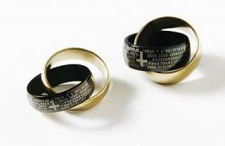 Men Women Gold Rings Couple Necklace Pendant with Bible Text